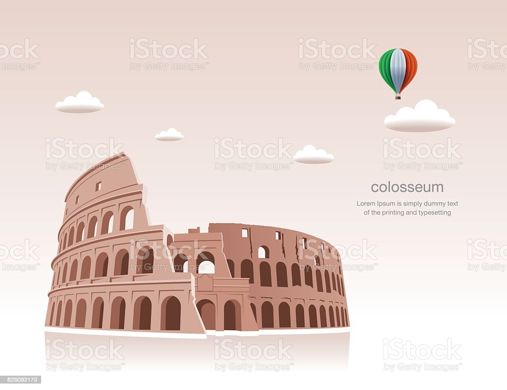 Exclusive,Travel, Colosseum, Rome vector art illustration