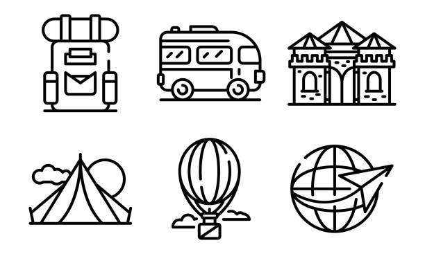 illustrations, cliparts, dessins animés et icônes de ensemble d'icônes d'excursion, style de contour - camera sculpture