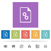 Executable file flat white icons in square backgrounds