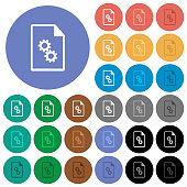 Executable file round flat multi colored icons