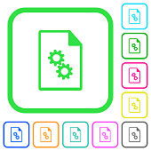 Executable file vivid colored flat icons