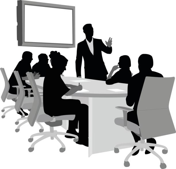 Executive Boardroom Silhouette vector illustration of a boardroom with business people listening to a presentation shy stock illustrations