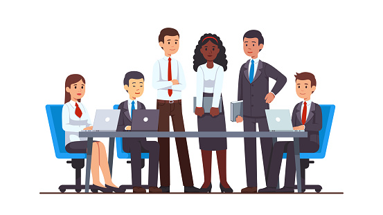 Executive business people group meeting at big office conference desk. Business man & woman company brainstorming working together using laptops, holding file folders.  Flat cartoon vector character illustration