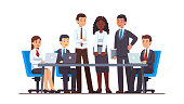 Executive business people group meeting at big office conference desk. Business man & woman company brainstorming working together using laptops, holding file folders. Flat cartoon vector illustration