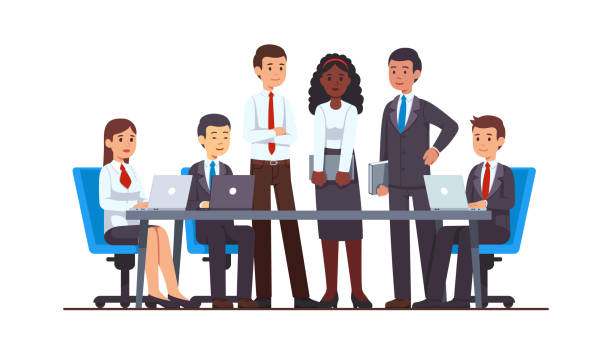 Executive business people group meeting at big office conference desk. Business man & woman company brainstorming working together using laptops, holding file folders.  Flat cartoon vector character illustration Executive business people group meeting at big office conference desk. Business man & woman company brainstorming working together using laptops, holding file folders. Flat cartoon vector illustration businesswear stock illustrations
