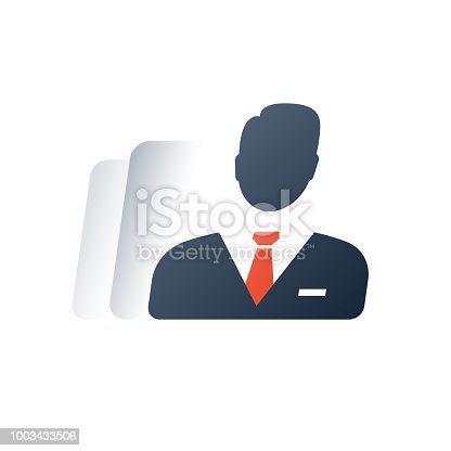 Business people, individual entrepreneur, company agent, executive management, legal body concept, head of department, consulting and analytics fast services, law person, vector flat icon