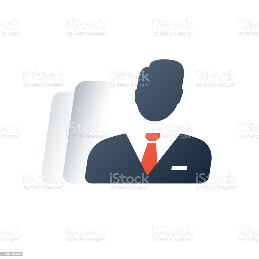 Geschäftsleitung, Geschäftsleute, Einzelunternehmer, Geschäftsführer der Gesellschaft, rechtliche Karosseriekonzept, Leiter der Abteilung – Vektorgrafik