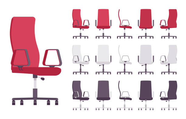 ilustrações de stock, clip art, desenhos animados e ícones de executive office chair furniture set - chair