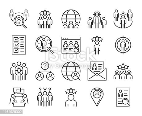 Executive Search icon. Head Hunting line icons set. Editable Stroke. Pixel Perfect
