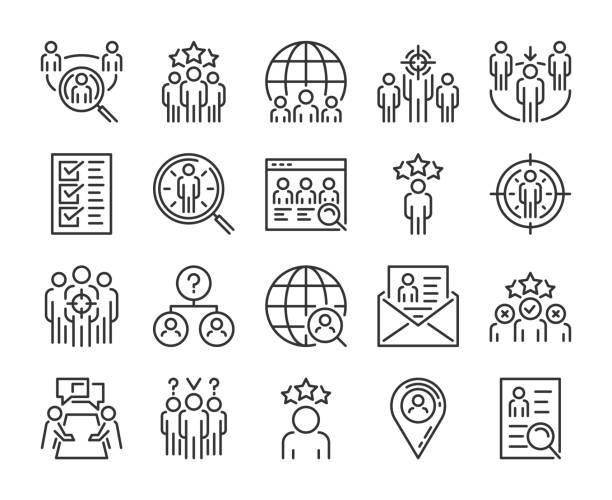 ikona wyszukiwania executive. head hunting ikony linii zestaw. edytowalny obrys. pixel perfect. - umiejętność stock illustrations