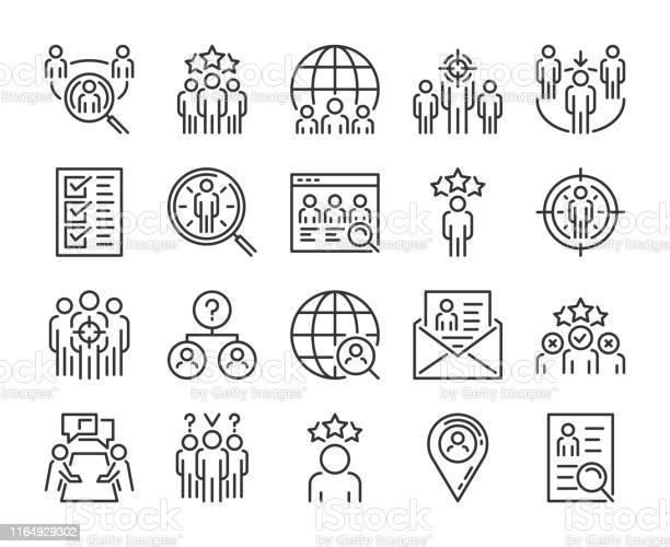 Значок Executive Search Набор Значков Линии Head Hunting Редактируемый Ход Пиксель Совершенный — стоковая векторная графика и другие изображения на тему Аутсорсинг
