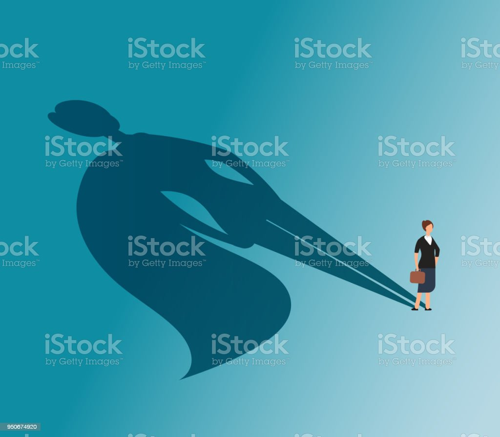 Executive woman with superhero shadow. Strong businesswoman and business victory vector concept vector art illustration