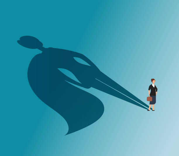 Executive woman with superhero shadow. Strong businesswoman and business victory vector concept Executive woman with superhero shadow. Strong businesswoman and business victory vector concept. Woman superhero, female with cape, businesswoman leadership illustration confidence stock illustrations