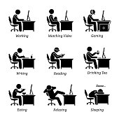The businessman is also watching video, gaming, writing, reading, sleeping, eating, drinking coffee and relaxing while using the computer.
