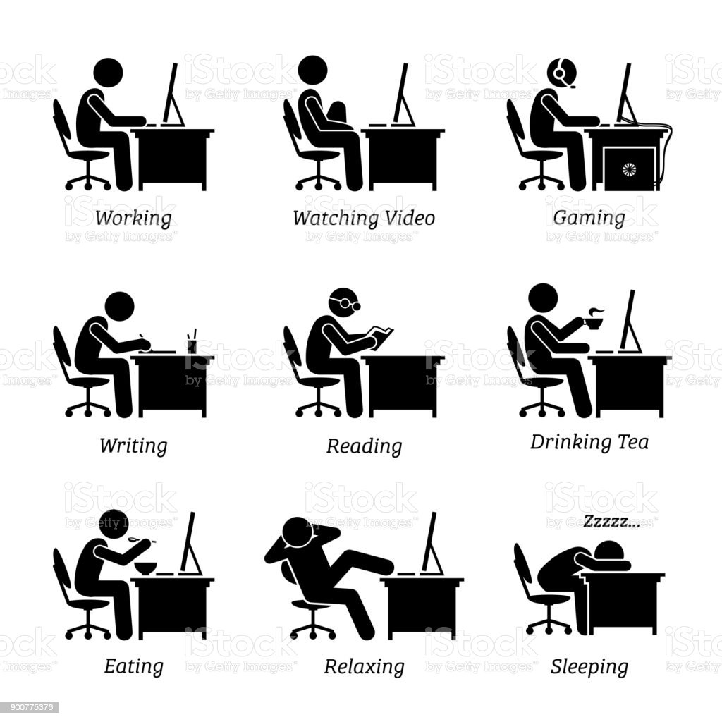 Executive working in front of a computer at office workplace. vector art illustration