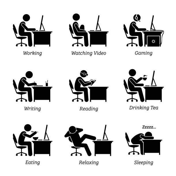Executive working in front of a computer at office workplace. The businessman is also watching video, gaming, writing, reading, sleeping, eating, drinking coffee and relaxing while using the computer. man sleeping stock illustrations