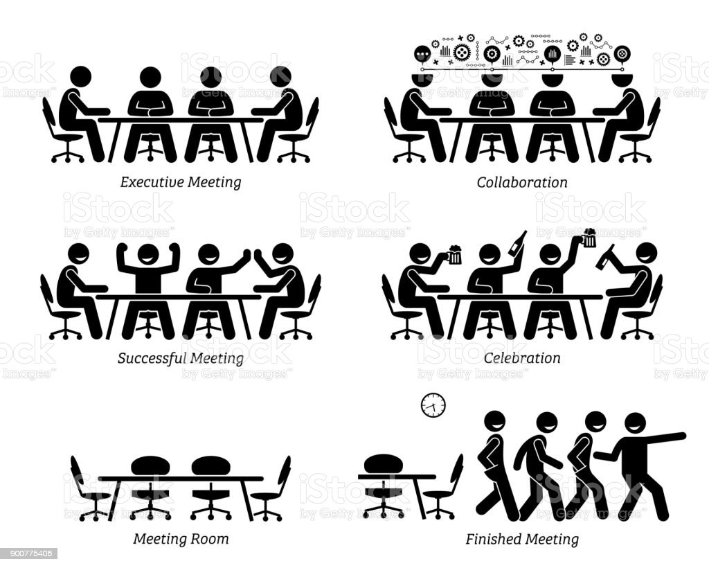 Executives having effective and efficient meeting and discussion. vector art illustration