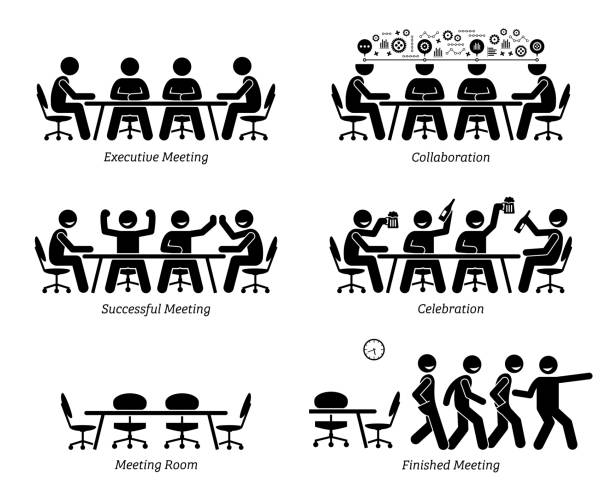 executives having effective and efficient meeting and discussion. - контурный рисунок stock illustrations