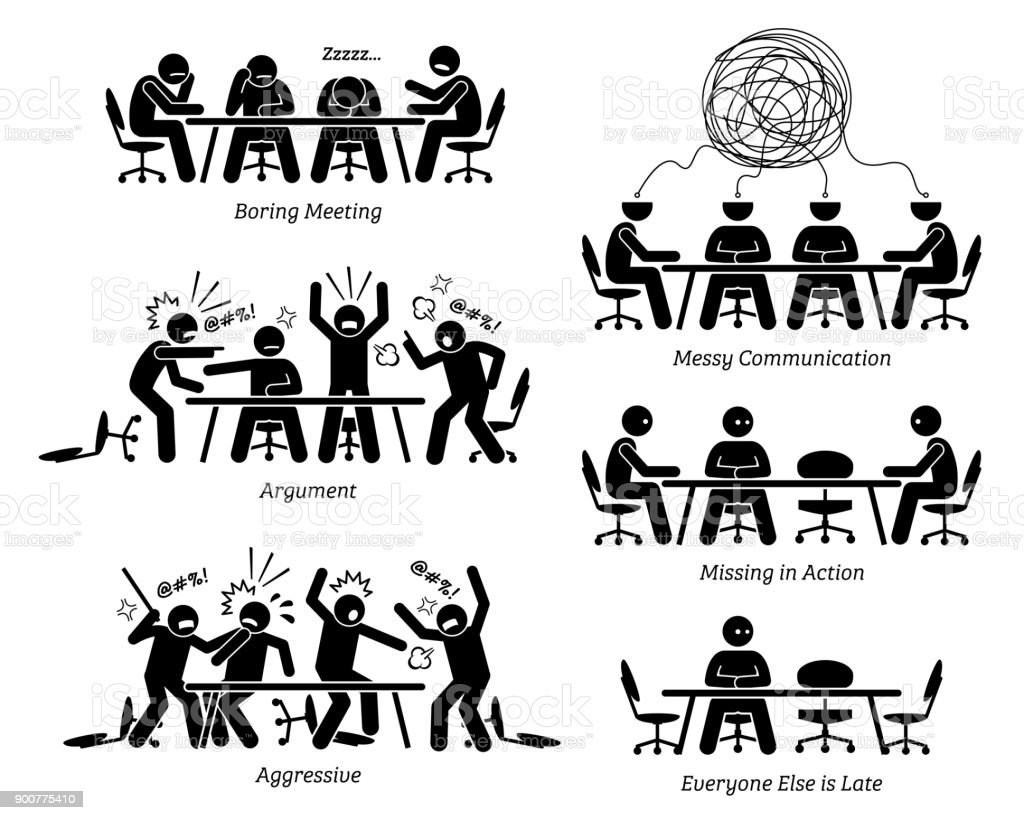 Executives having ineffective and inefficient meeting and discussion. vector art illustration