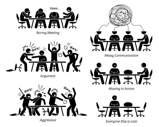 Executives having ineffective and inefficient meeting and discussion. The businessmen have a boring meeting, messy communication, argument, and a fight. Business partner is also late for the meeting. arguing stock illustrations