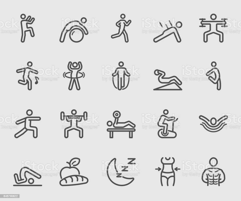 Exercise and Fitness for Health line icon vector art illustration