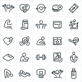 A set of exercise and fitness icons. The icons include people exercising, lifting weights, flexing muscles, eating healthy, running on treadmill, stretching, supplements, energy bar, nutrition, healthy eating, cycling, weight scale, tape measure, personal trainer, healthy food, jump roping, sit-up, basketball, water aerobics and water.