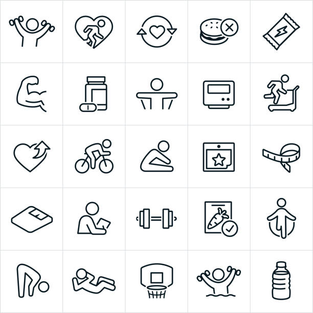 Exercise And Fitness Icons A set of exercise and fitness icons. The icons include people exercising, lifting weights, flexing muscles, eating healthy, running on treadmill, stretching, supplements, energy bar, nutrition, healthy eating, cycling, weight scale, tape measure, personal trainer, healthy food, jump roping, sit-up, basketball, water aerobics and water. conceptual symbol stock illustrations
