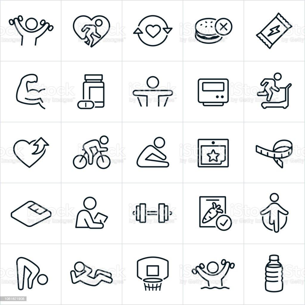 Exercício e Fitness ícones - ilustração de arte em vetor