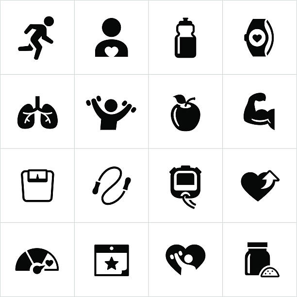 Exercise and Fitness Icons vector art illustration