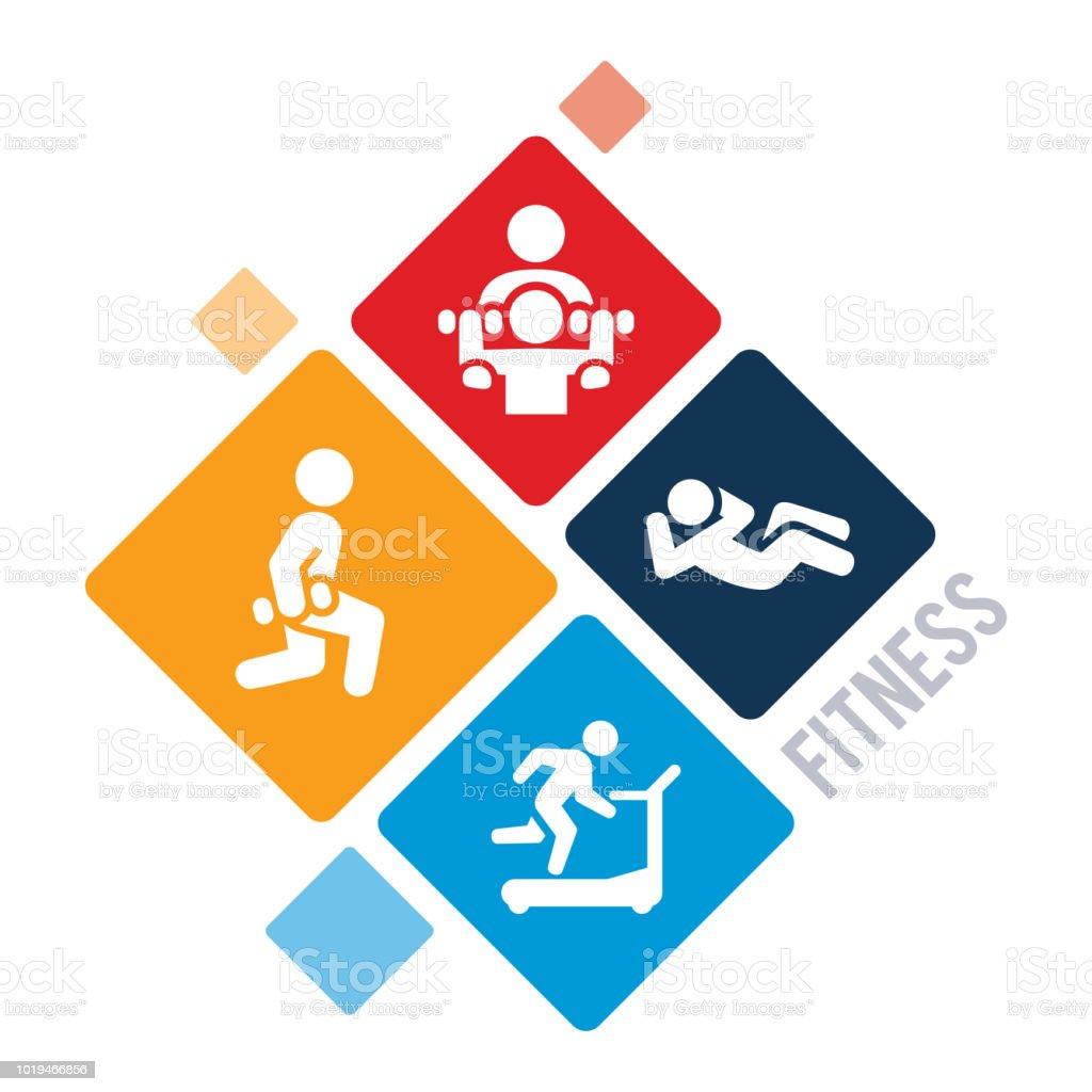 運動とフィットネスの図 ベクターアートイラスト