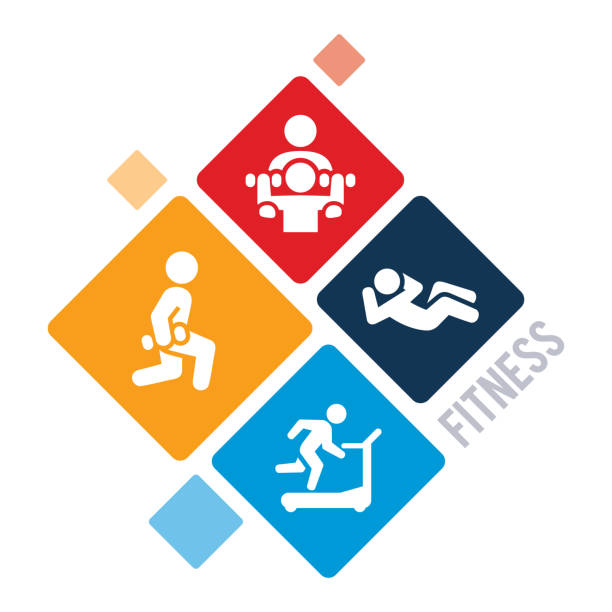 exercise and fitness illustration - personal trainer stock illustrations, clip art, cartoons, & icons