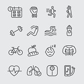Exercise and healthy line icon