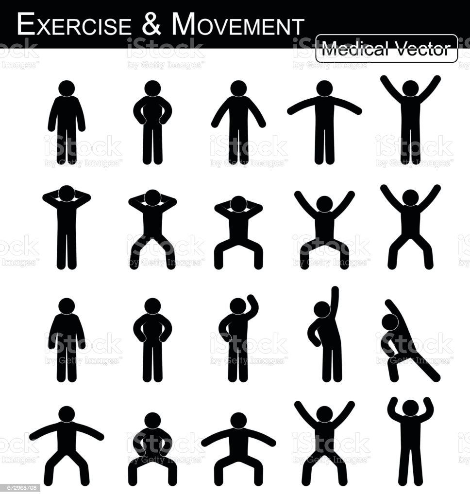 Exercise and Movement ( move step by step )( simple flat stick man vector ) ( Medical , Science and Healthcare concept ) vector art illustration