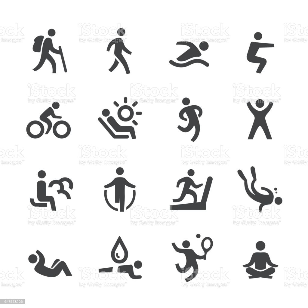 Exercise and Relaxation Icons - Acme Series vector art illustration