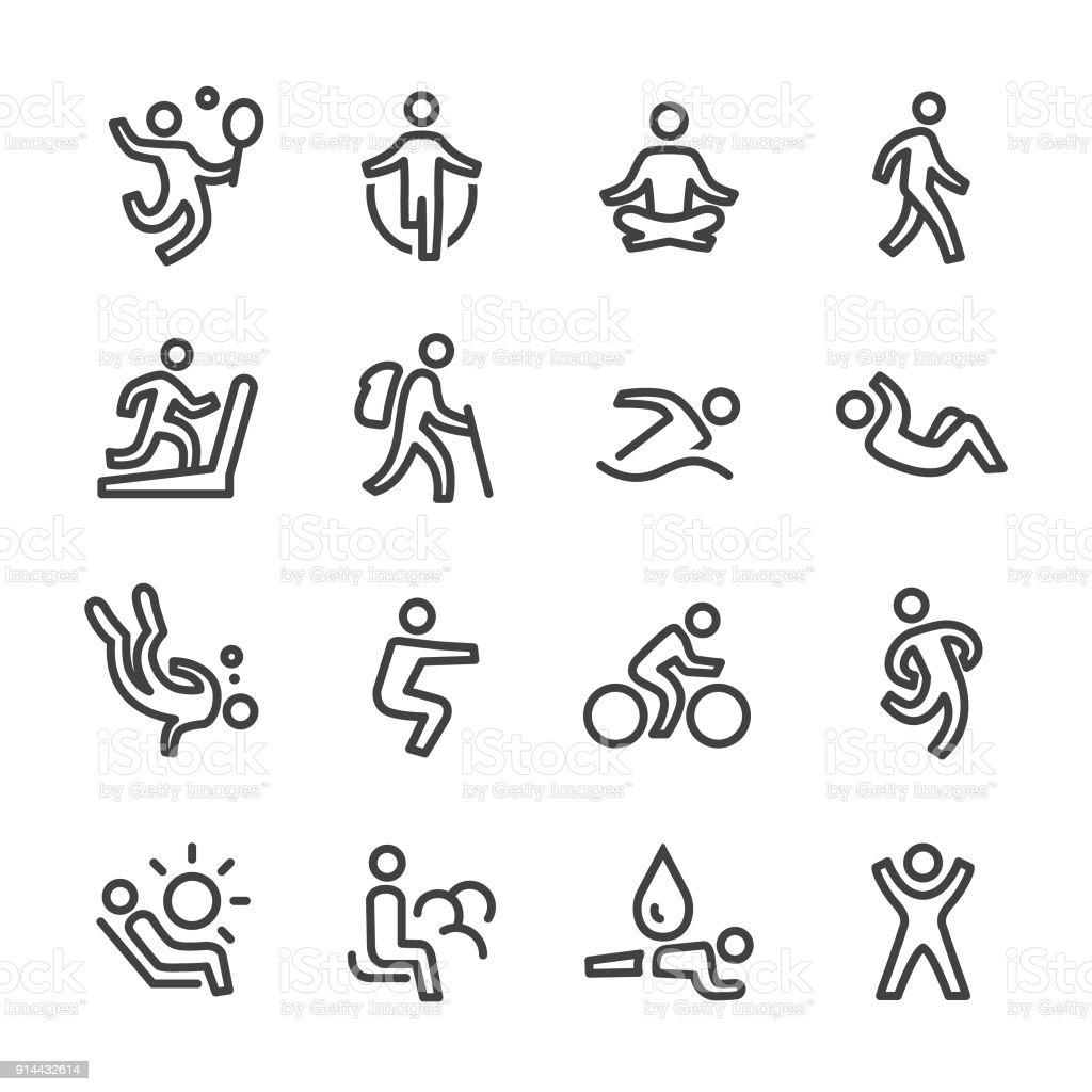 運動とリラクゼーションのアイコン - ライン シリーズ ベクターアートイラスト