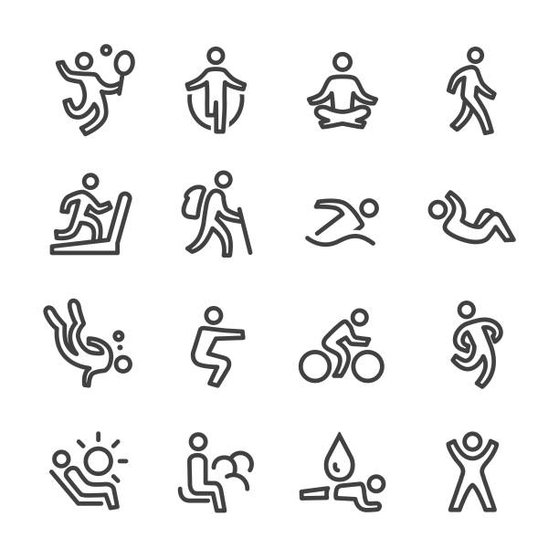 exercise and relaxation icons - line series - ходьба stock illustrations