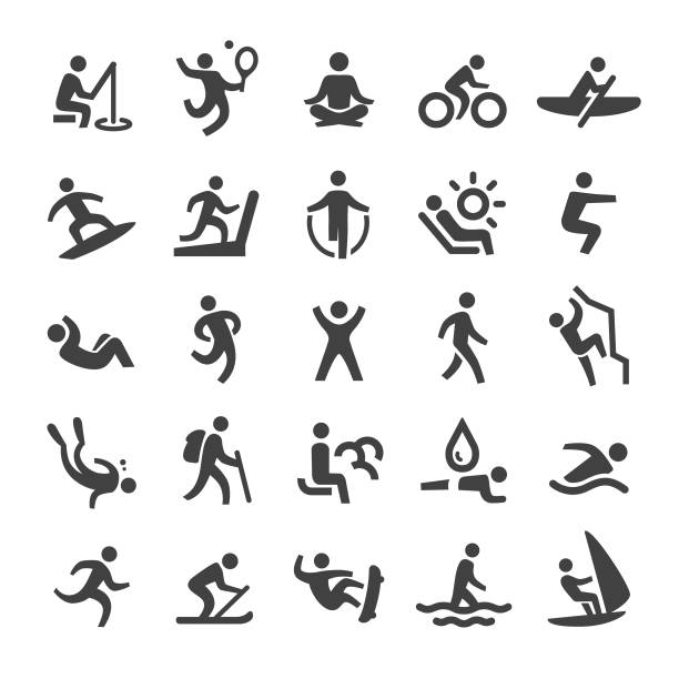 Exercise and Relaxation Icons - Smart Series Exercise, Relaxation, healthy lifestyle, meditation stock illustrations
