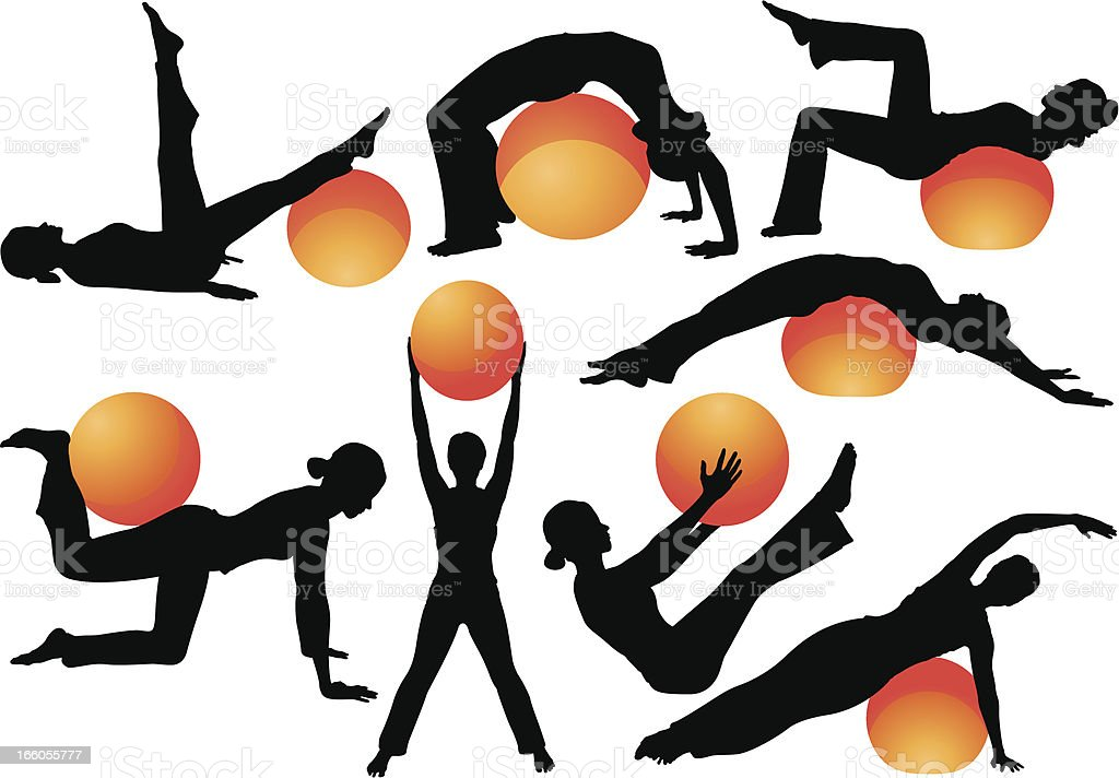 Exercise Ball Workouts royalty-free stock vector art
