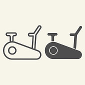 Exercise bike line and solid icon. Exercycle outline style pictogram on beige background. Stationary fitness bike for mobile concept and web design. Vector graphics
