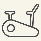 Exercise bike line icon. Exercycle outline style pictogram on beige background. Stationary fitness bike for mobile concept and web design. Vector graphics