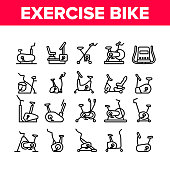 Exercise Bike Sport Collection Icons Set Vector. Bike Sportive Equipment, Gym And Fitness Physical Training Health Activity Tool Concept Linear Pictograms. Monochrome Contour Illustrations