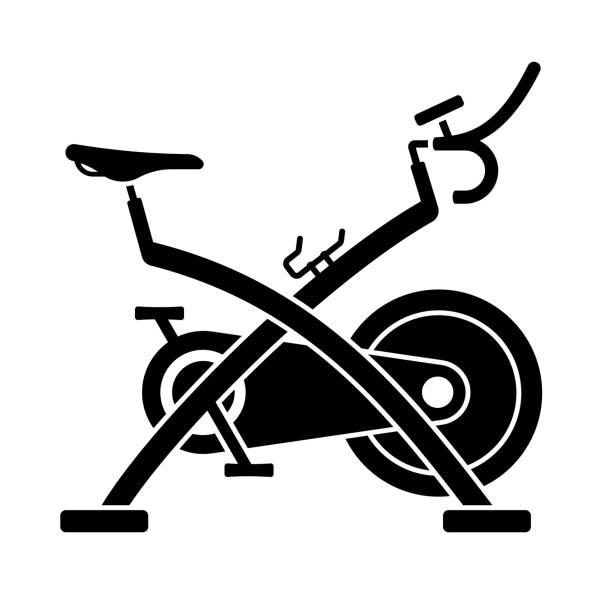 Exercise Bike Symbol Exercise and fitness bike. exercise bike stock illustrations