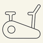 Exercise bike thin line icon. Exercycle outline style pictogram on beige background. Stationary fitness bike for mobile concept and web design. Vector graphics
