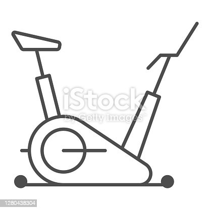 istock Exercise bike thin line icon, Gym concept, stationary bike sign on white background, Fitness cycling icon in outline style for mobile concept and web design. Vector graphics. 1280438304