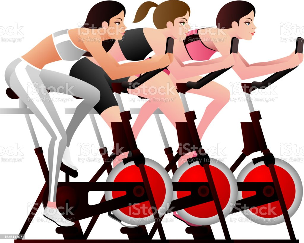 Exercise Bikes Fun Class royalty-free exercise bikes fun class stock vector art & more images of 20-24 years