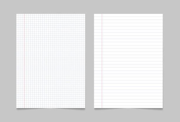ilustrações, clipart, desenhos animados e ícones de fundo da página do papel do livro de exercício. teste padrão alinhado folha da textura do caderno - papel