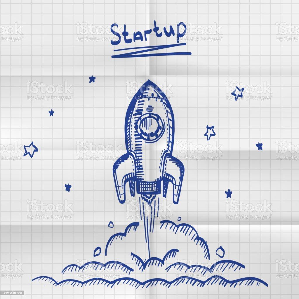Exercise book sketch rocket startup. vector art illustration