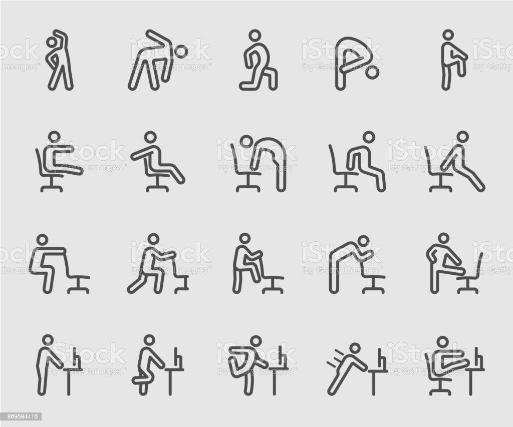 Exercice pour les personnes qui travaillent, bureau, icône de ligne au travail exercice pour les personnes qui travaillent bureau icône de ligne au travail vecteurs libres de droits et plus d'images vectorielles de activité de plein air libre de droits