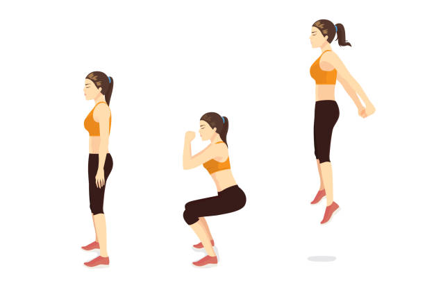Exercise guide by Woman doing squat jump in 3 steps in side view. vector art illustration