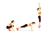 Exercise guide with Woman doing the Squat Thrust Burpee position in 3 step. Illustration about workout diagram.